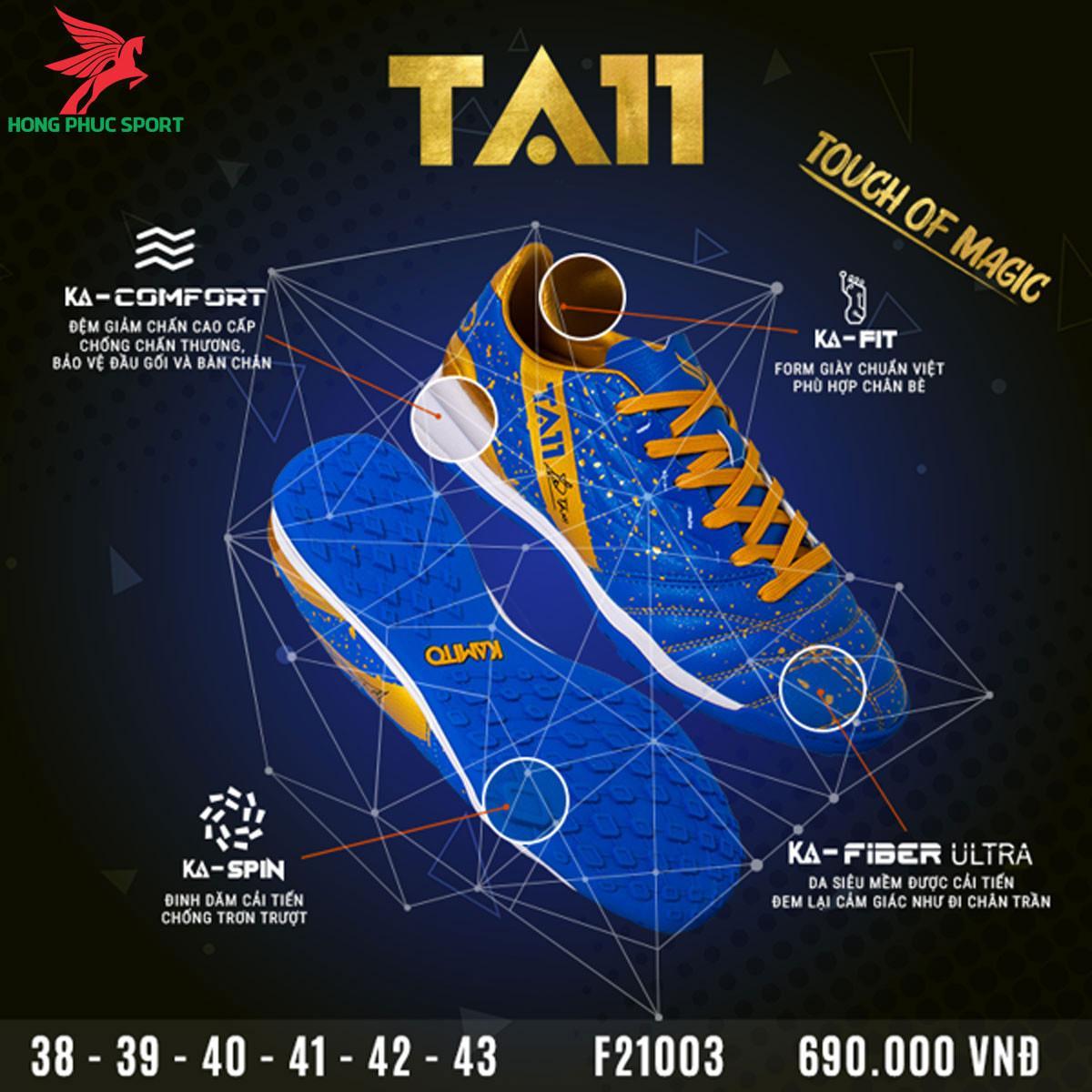 Giày đá banh Kamito TA11 sân cỏ nhân tạo màu xanh dương