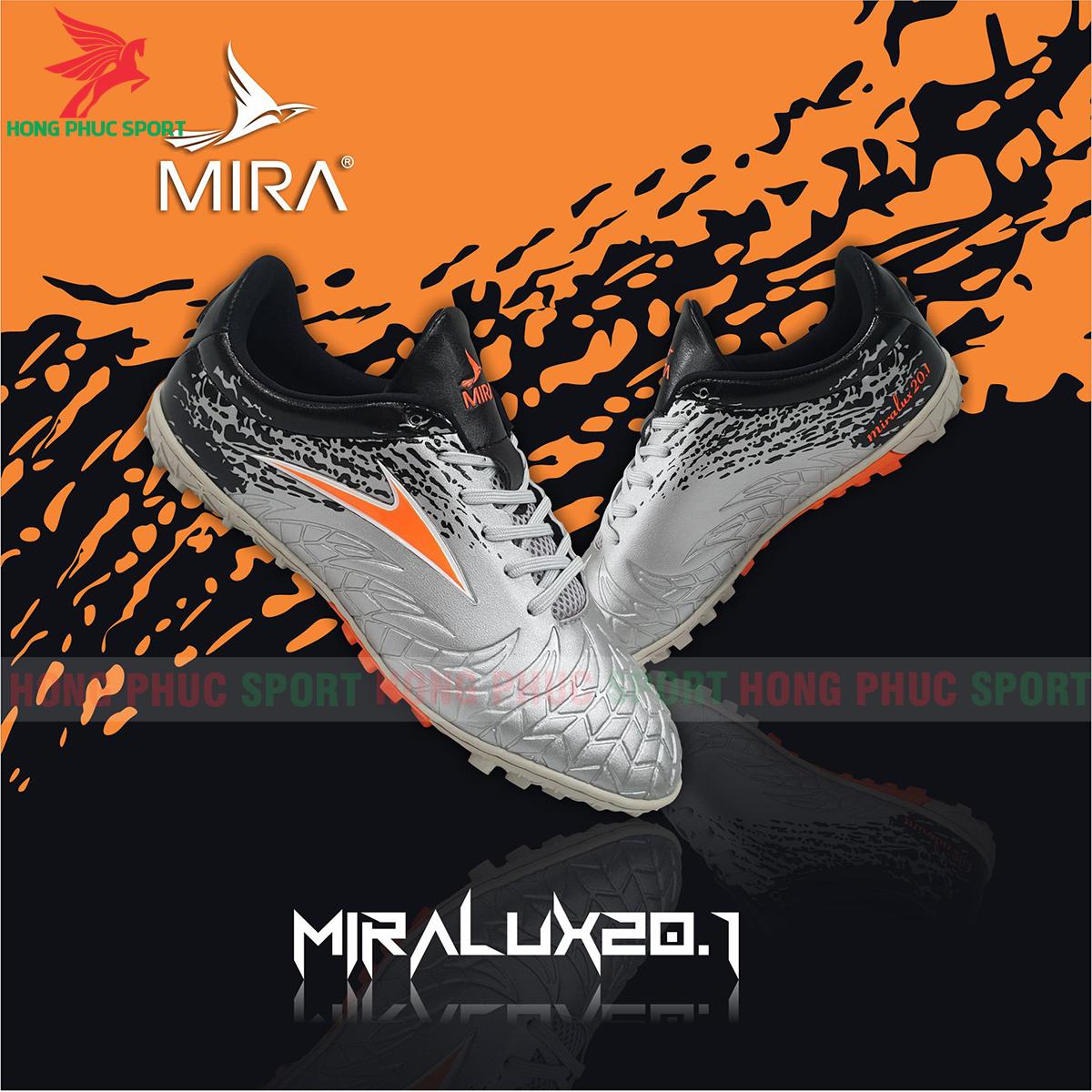 Giày Mira Lux 20.1 sân cỏ nhân tạo màu bạc phối đen