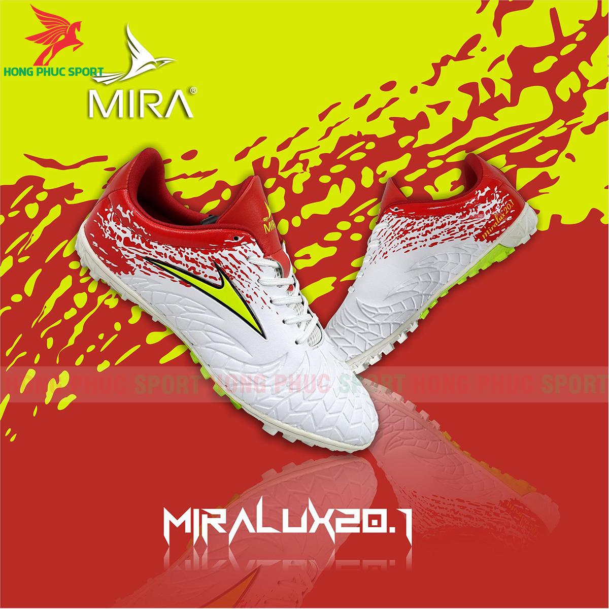 Giày Mira Lux 20.1 sân cỏ nhân tạo màu trắng phối đỏ