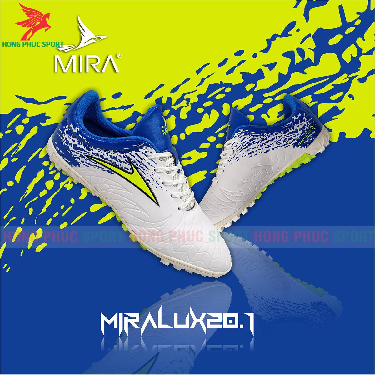 Giày Mira Lux 20.1 sân cỏ nhân tạo màu trắng phối xanh