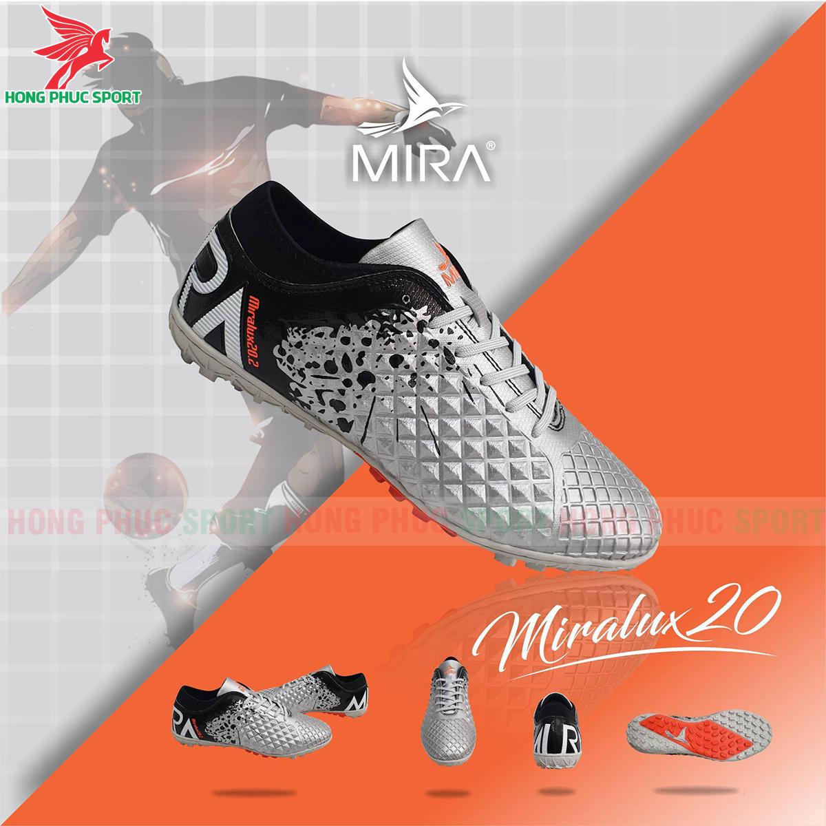 Giày Mira Lux 20.2 sân cỏ nhân tạo màu bạc phối đen