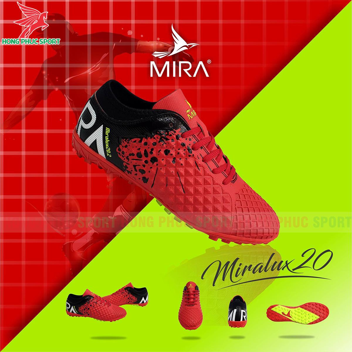 Giày Mira Lux 20.2 sân cỏ nhân tạo màu đỏ phối đen