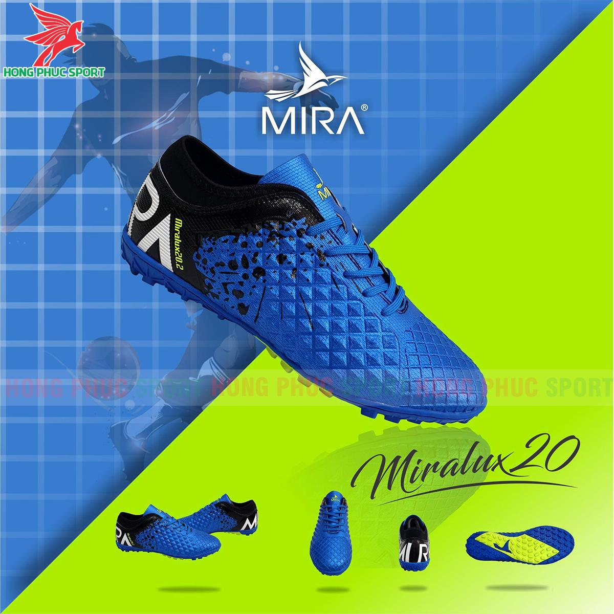 Giày Mira Lux 20.2 sân cỏ nhân tạo màu xanh dương phối đen