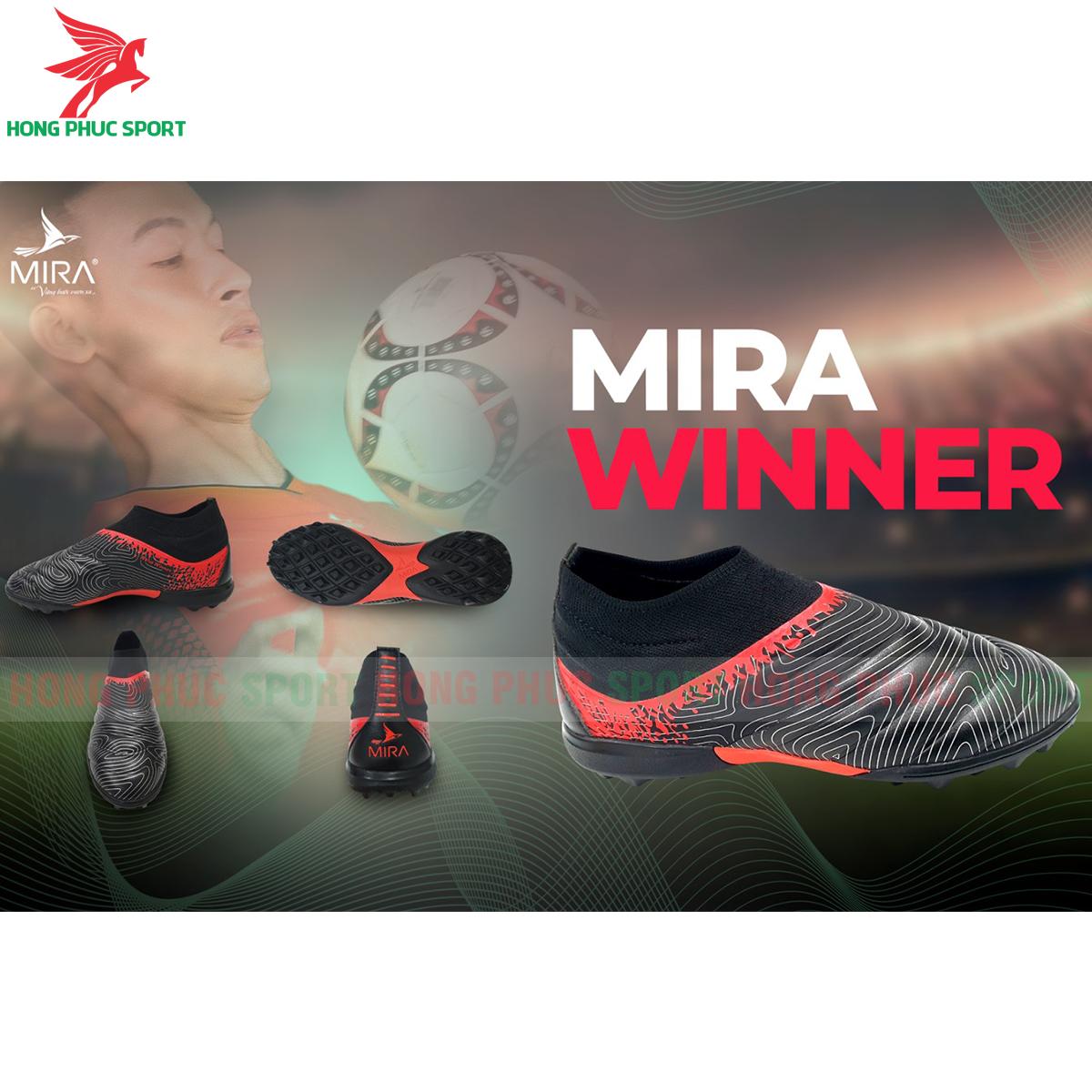 Giày Mira Winner sân cỏ nhân tạo màu đen