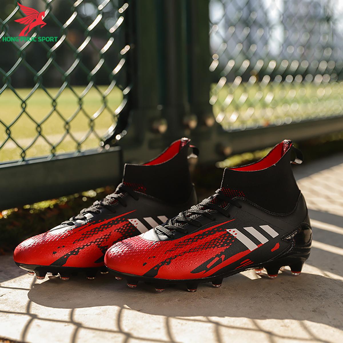 Giày đá banh cố cao Predator 20.3 đế FG màu đỏ đen (1)