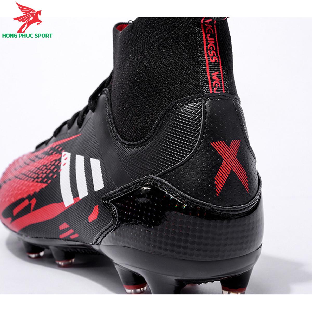 Giày đá banh cố cao Predator 20.3 đế FG màu đỏ đen (4)