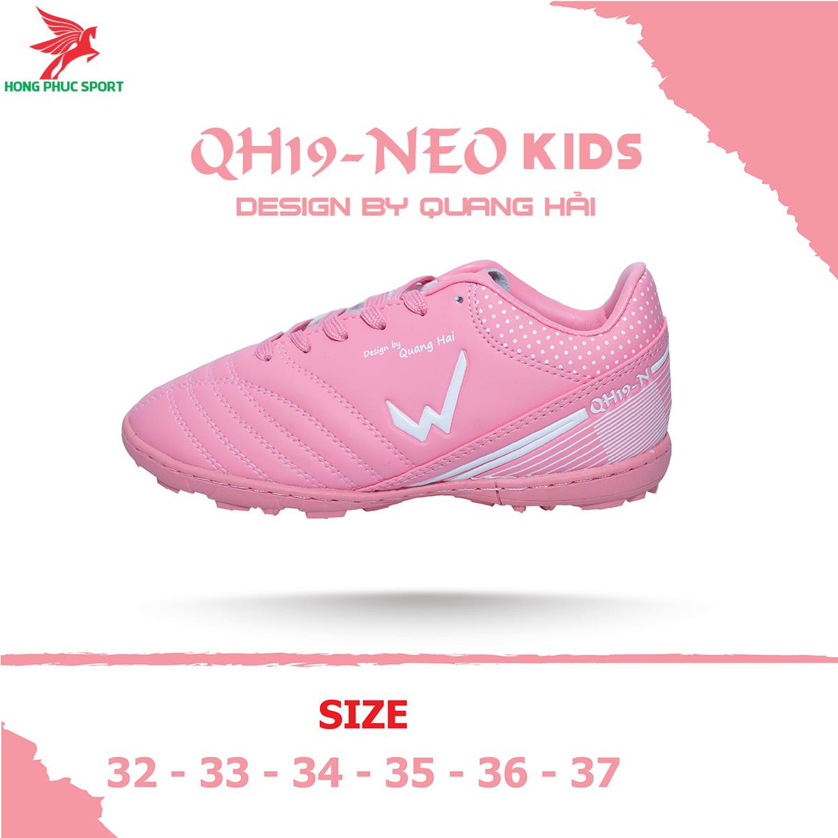 Giày đá banh Wika QH19 Neo Kids sân cỏ nhân tạo màu Hồng (2)
