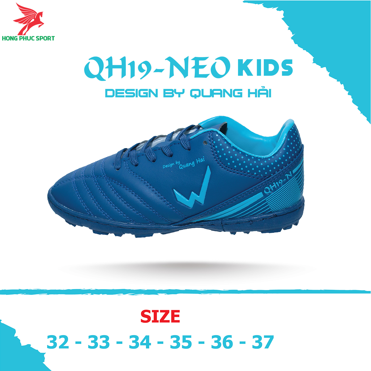 Giày đá banh Wika QH19 Neo Kids sân cỏ nhân tạo màu Tím than (2)