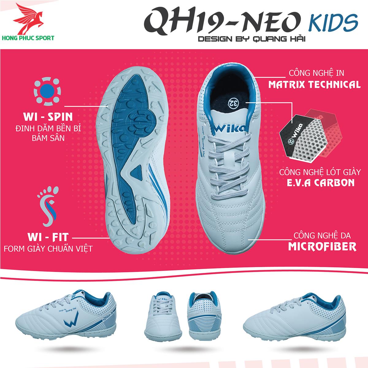 Giày đá banh Wika QH19 Neo Kids sân cỏ nhân tạo màu Xám (1)