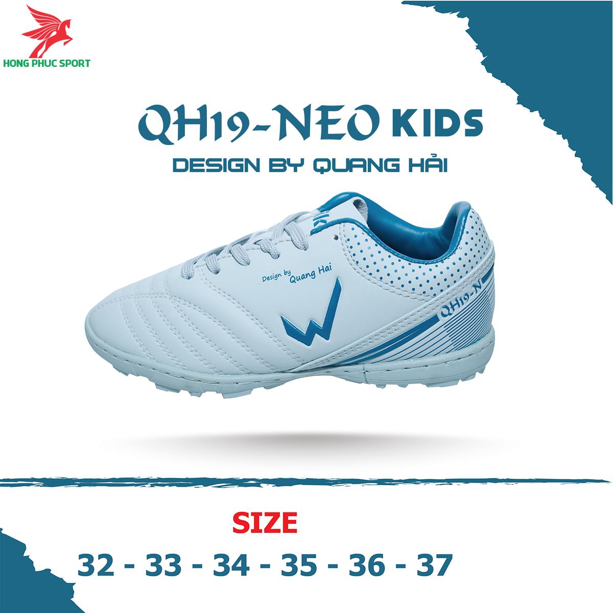 Giày đá banh Wika QH19 Neo Kids sân cỏ nhân tạo màu Xám (2)