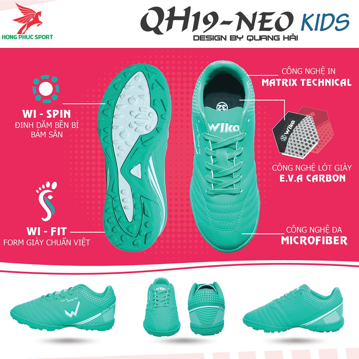 Giày đá banh Wika QH19 Neo Kids sân cỏ nhân tạo màu Xanh lam (1)