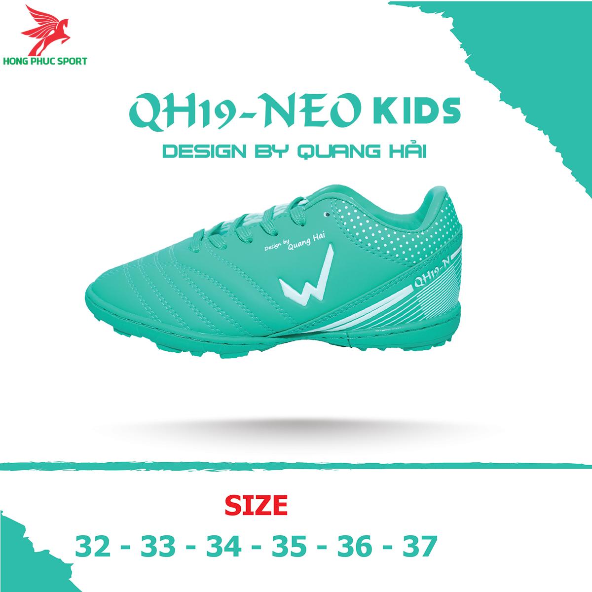 Giày đá banh Wika QH19 Neo Kids sân cỏ nhân tạo màu Xanh lam (2)