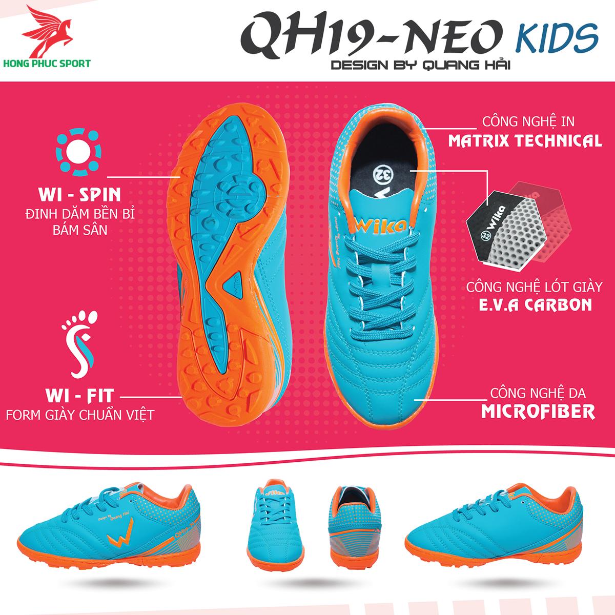 Giày đá banh Wika QH19 Neo Kids sân cỏ nhân tạo màu Xanh ngọc (1)
