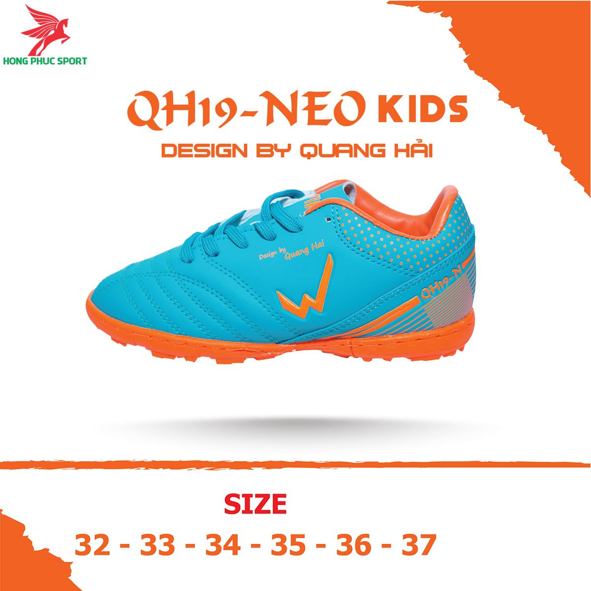 Giày đá banh Wika QH19 Neo Kids sân cỏ nhân tạo màu Xanh ngọc (2)