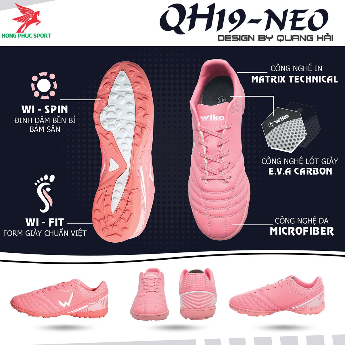 Giày đá banh Wika QH19 Neo sân cỏ nhân tạo màu Hồng (1)