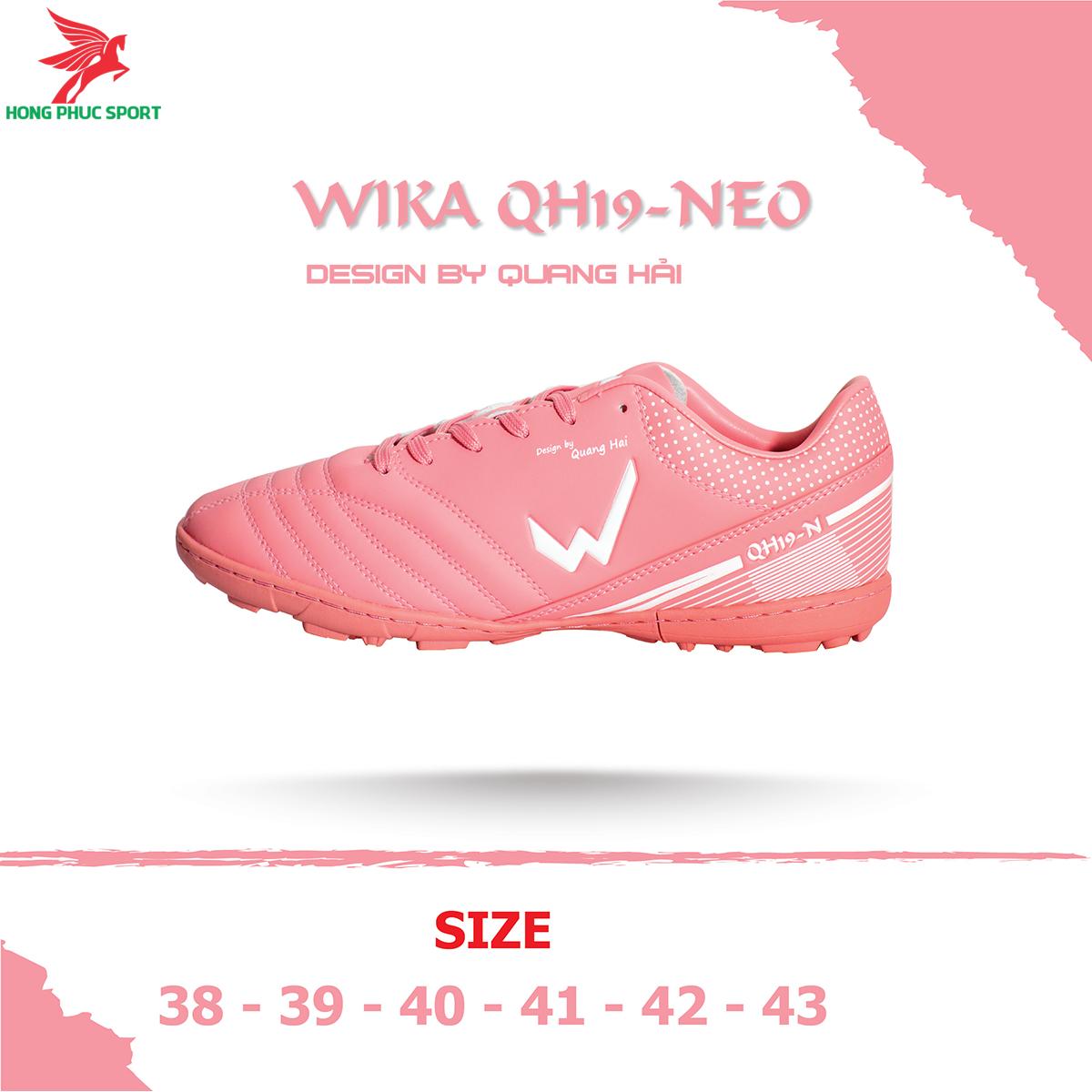 Giày đá banh Wika QH19 Neo sân cỏ nhân tạo màu Hồng (2)