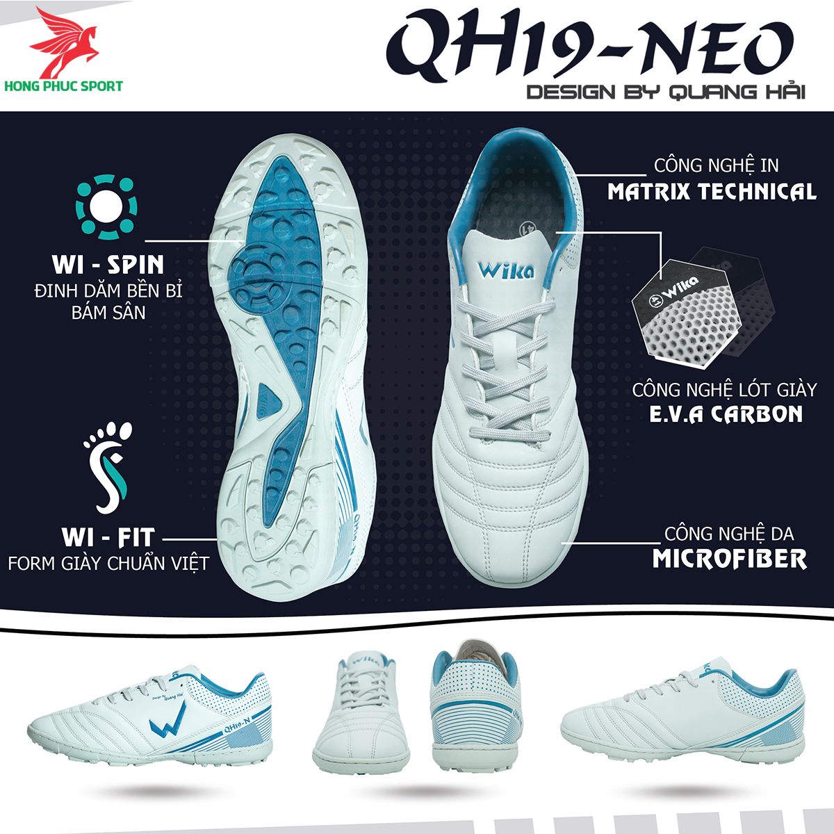 Giày đá banh Wika QH19 Neo sân cỏ nhân tạo màu Xám (1)