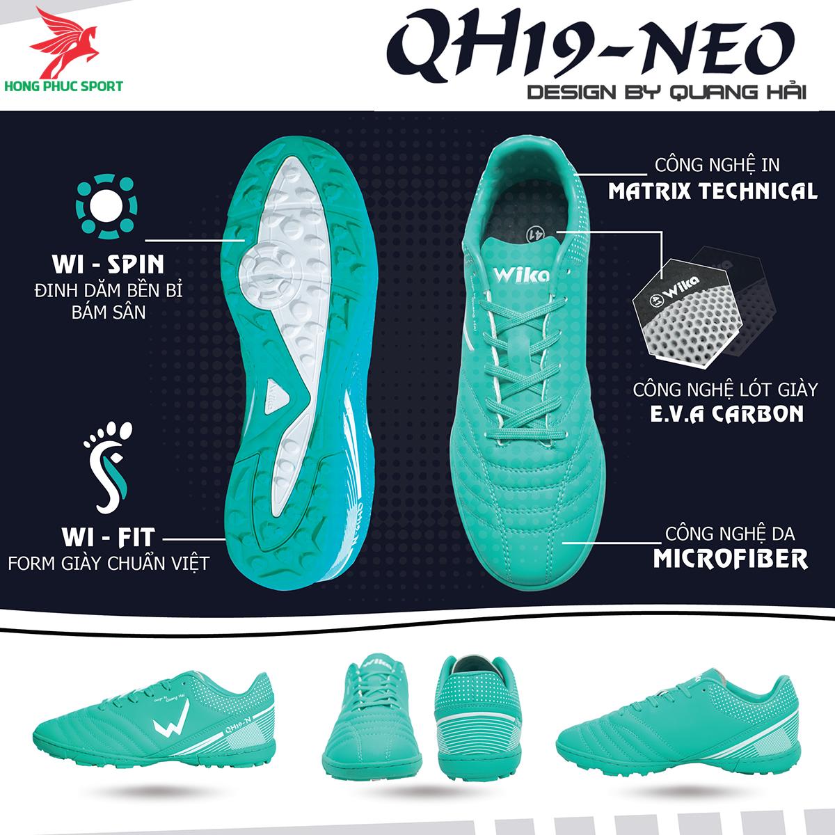 Giày đá banh Wika QH19 Neo sân cỏ nhân tạo màu Xanh lam (1)