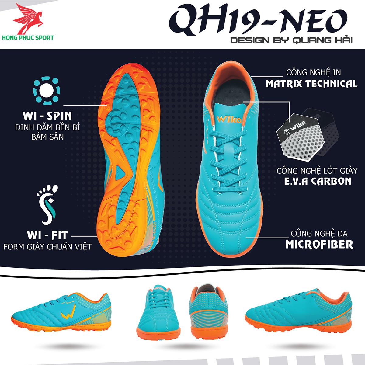 Giày đá banh Wika QH19 Neo sân cỏ nhân tạo màu Xanh ngọc (1)
