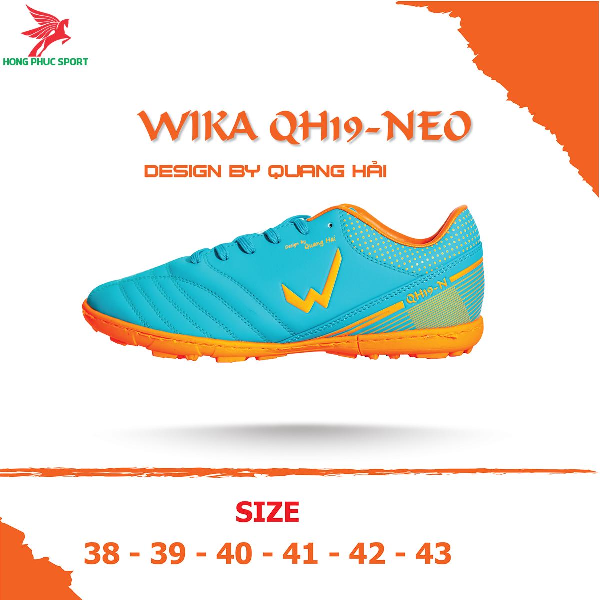 Giày đá banh Wika QH19 Neo sân cỏ nhân tạo màu Xanh ngọc (2)