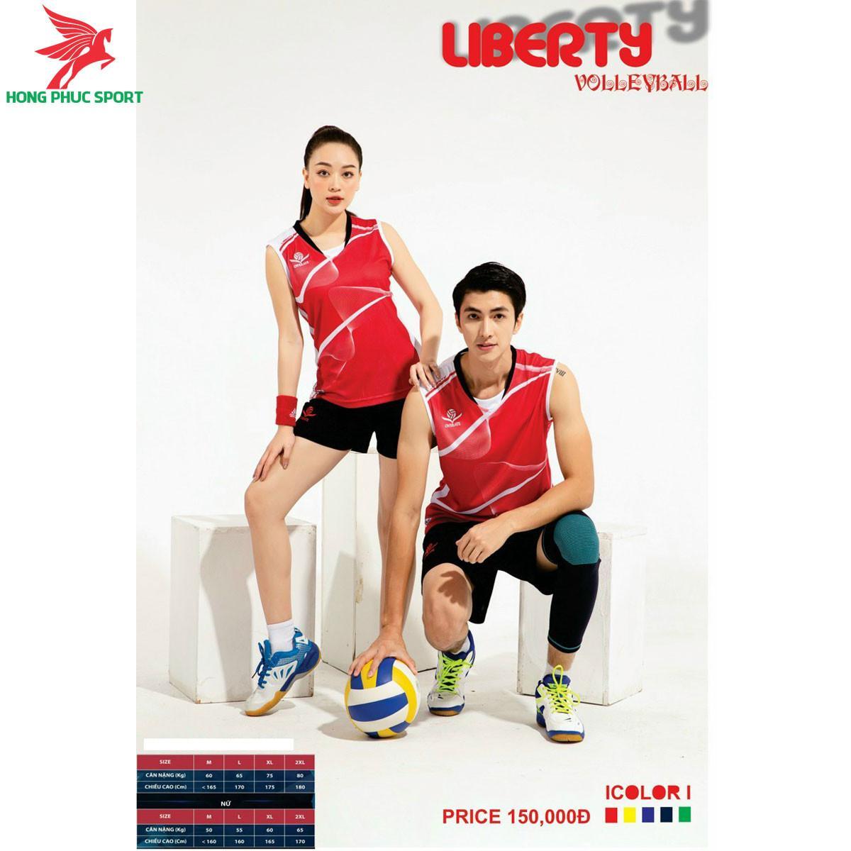 Áo thi đấu bóng chuyền OverateLiberty 2021 màu đỏ