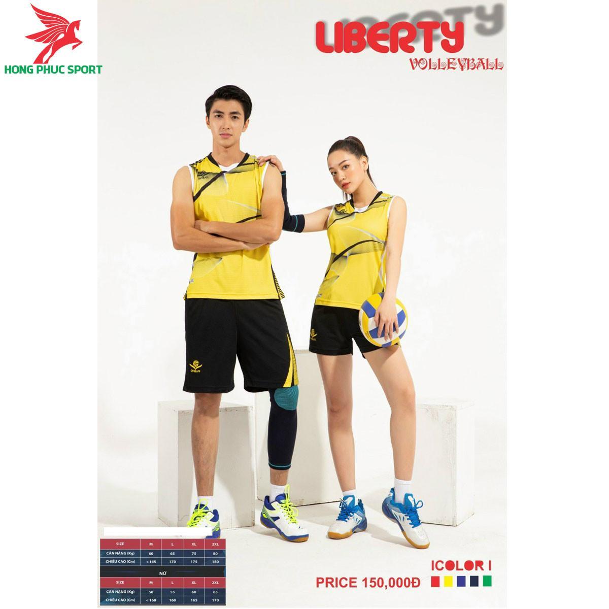 Áo thi đấu bóng chuyền OverateLiberty 2021 màu vàng