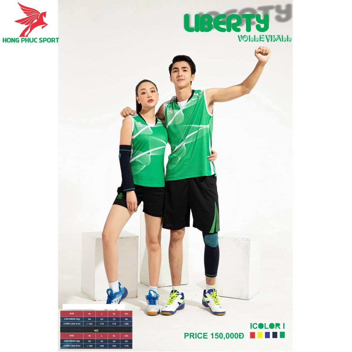 Áo thi đấu bóng chuyền OverateLiberty 2021 màu xanh lá
