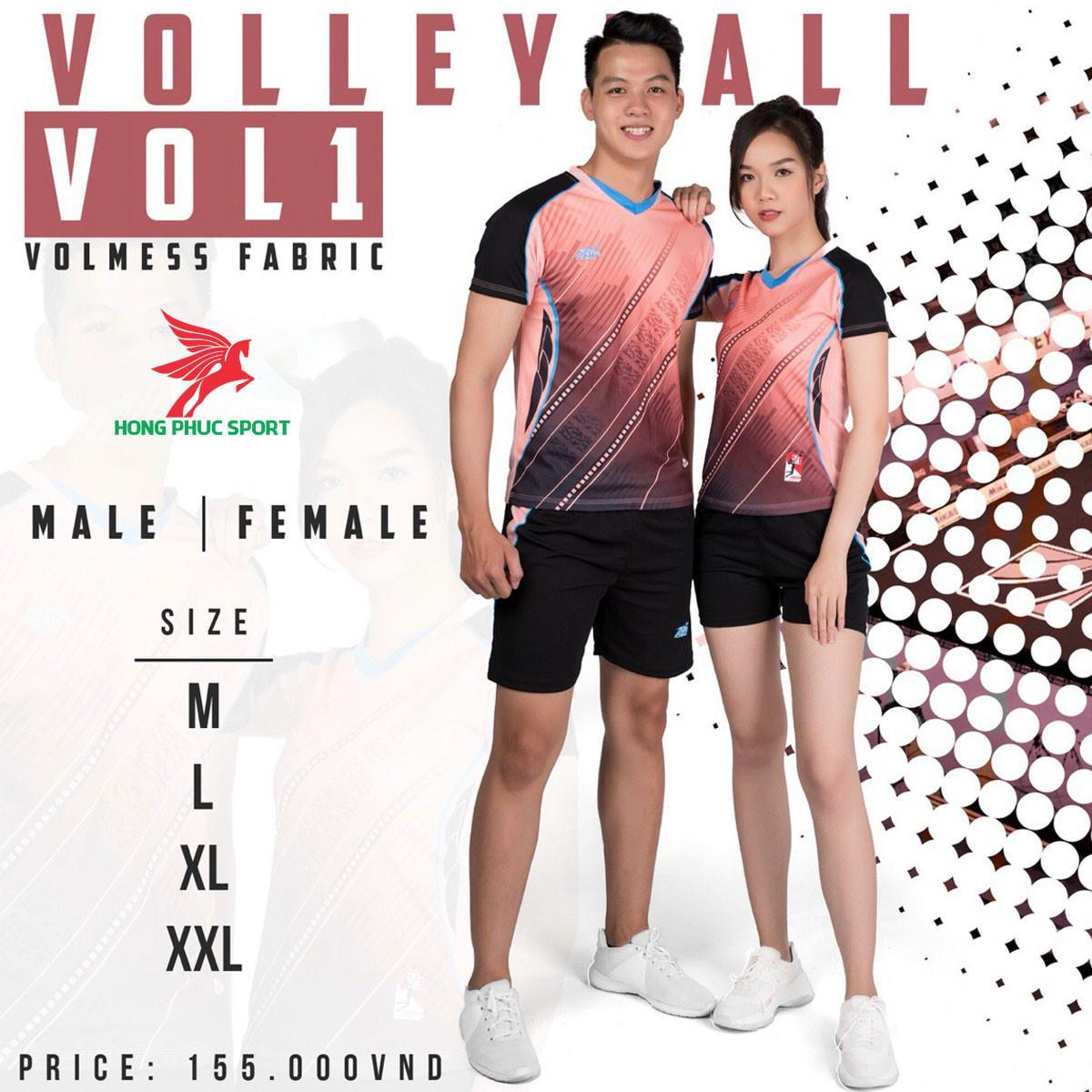 Áo thi đấu bóng chuyền Riki Vol12021 màu hồng