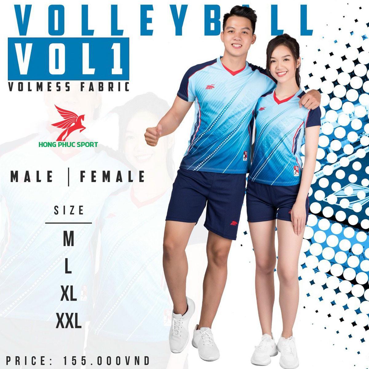 Áo thi đấu bóng chuyền Riki Vol12021 màu xanh dương