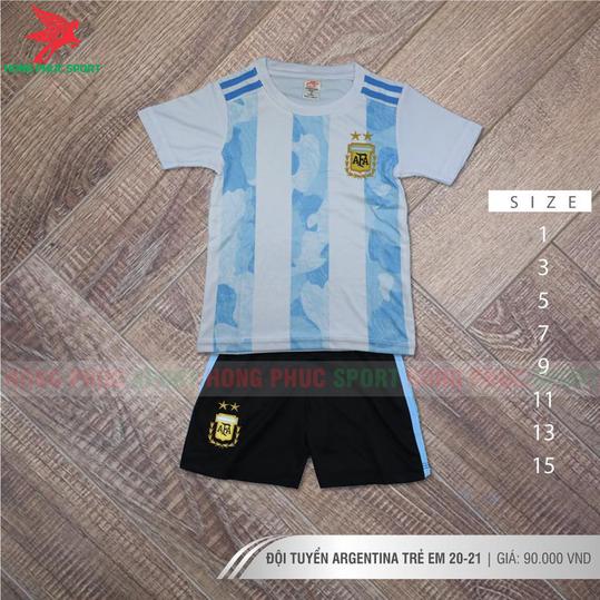 ÁO ĐẤU TRẺ EM TUYỂN ARGENTINA 2021 2022 SÂN NHÀ - THUN LẠNH CAO CẤP